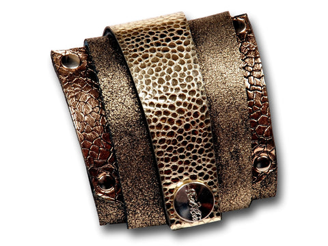 Handmade leather wrap around bracelet (golden) - EvilEve leather luxury fashion - 1