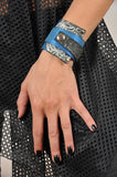 Handmade leather wrap around bracelet (blue/grey) - EvilEve leather luxury fashion - 2