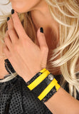 Handmade leather wrap around bracelet (yellow/black) - EvilEve leather luxury fashion - 2