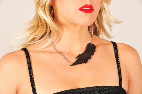 Leather reversible necklace WINGS (dark brown) with matching earring - EvilEve leather luxury fashion