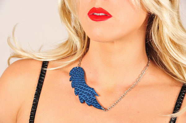 Leather reversible necklace WINGS (blue) with matching earring - EvilEve leather luxury fashion - 1