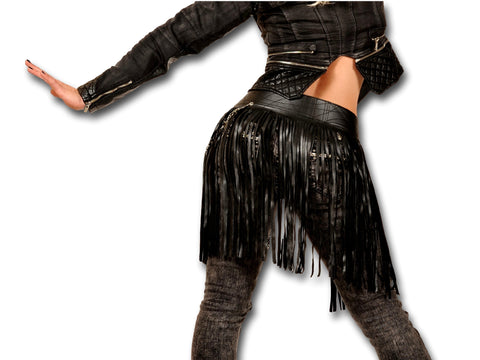 Handmade leather FRINGE - skirt waist belt (black) - EvilEve leather luxury fashion - 1