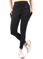 Women's Stretchy Active Legging with 2 Side Pockets - Black