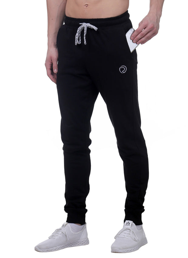 Training & Travel Jogger Pant with 2 Zippered side Pockets for Men - Black