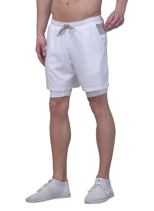 "7"" Sports Shorts With Phone Pocket - The SPS-II White"