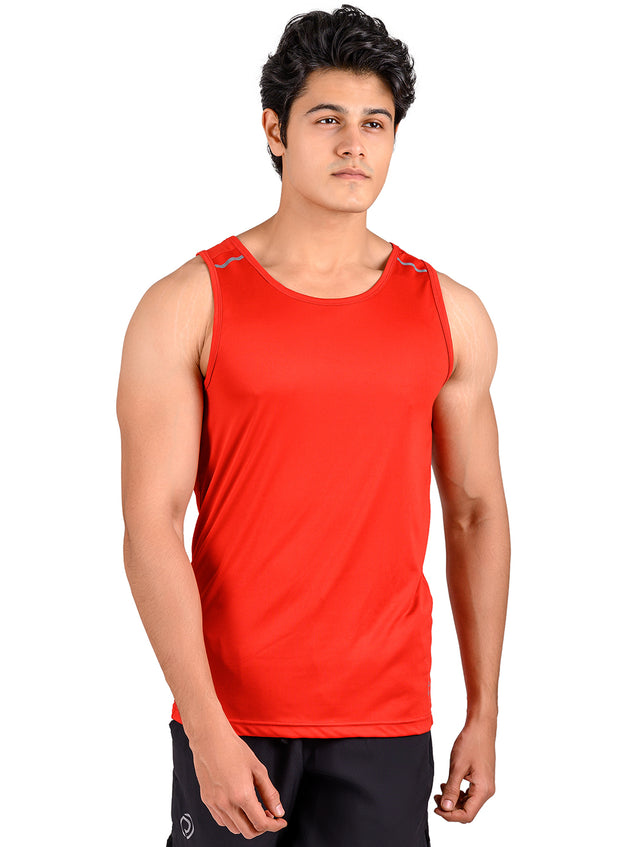 Men's Light Dryfit Tank with Reflective Details - Red