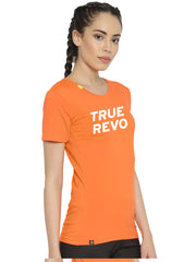 Slim Fit Active Comfy Stretch Cotton Yoga Tshirt - Women's Orange TRUEREVO