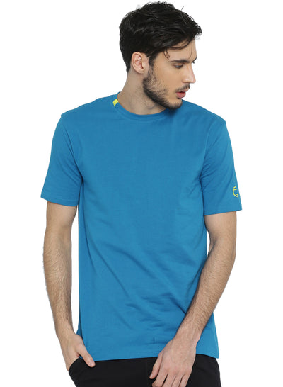 Active Comfy Stretch Cotton Yoga Tshirt - Men's Blue