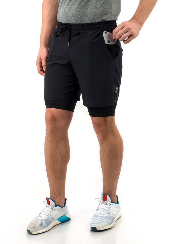 Shorts (with Phone pocket) & T-shirt Combo 2 Pack Men's Black-Grey