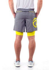 Shorts (with Phone pocket) & T-shirt Combo 2 Pack Men's Grey-Yellow