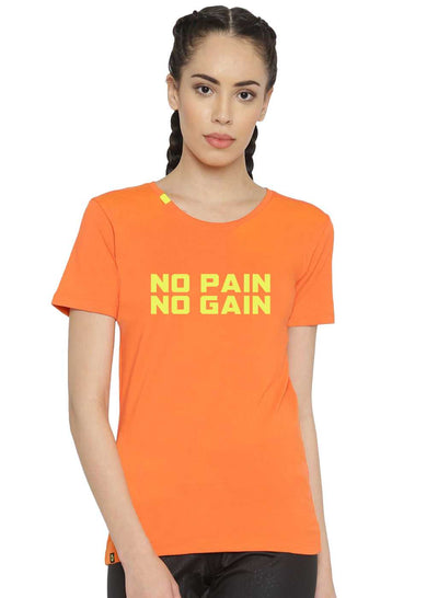 Slim Fit Ultimate Stretch Cotton Tshirt- Women's Orange NO PAIN NO GAIN Printed