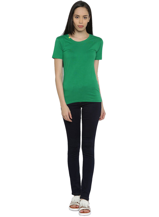 Slim Fit Ultimate Stretch Cotton Yoga & Gym Tshirt- Women's Green