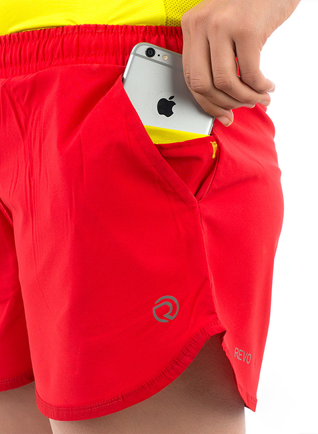 2-in-1 Sports Shorts With Phone Pocket - The SPS-II Red