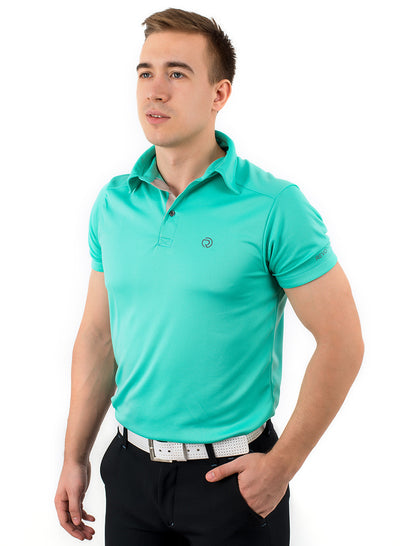 Sports Dryfit Collar Polo Tshirt with contrast placket for Men's Golf & Fitness - Sea Green