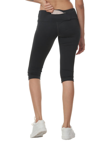 Women's Stretch Dryfit 3/4th Legging with Waist Phone Pocket - Graphite Grey