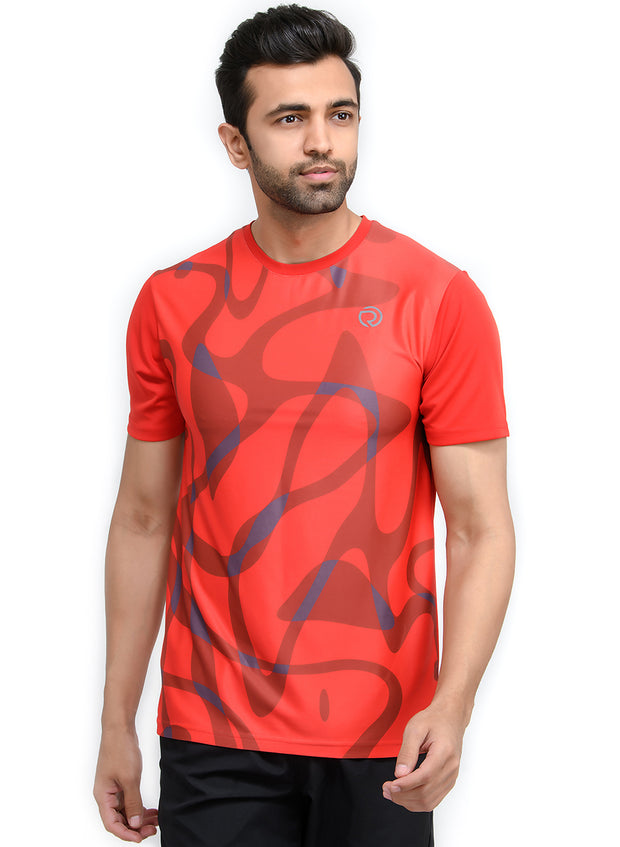 Reflective dryfit tshirt with stylish print  - RED