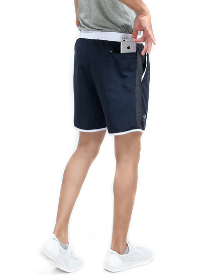 "7"" Shorts With Zipper Back Pocket""(Detachable Outer) - Navy Blue"
