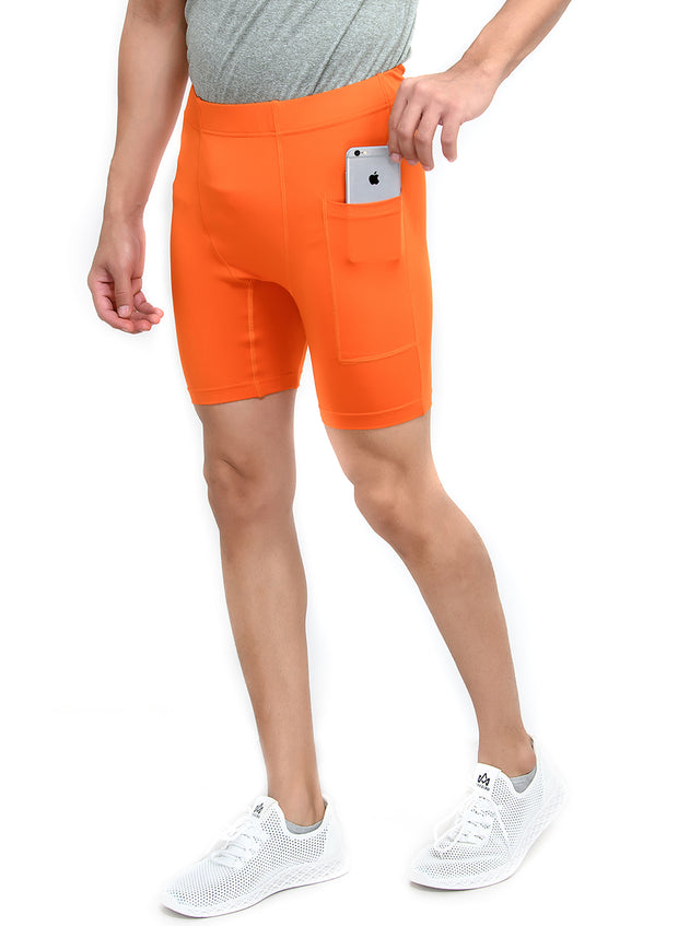 "5"" Detachable Inner - Men's Tights with Phone Pocket - ORANGE"