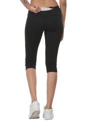 Women's Stretch Dryfit 3/4th Legging with Waist Phone Pocket - Black