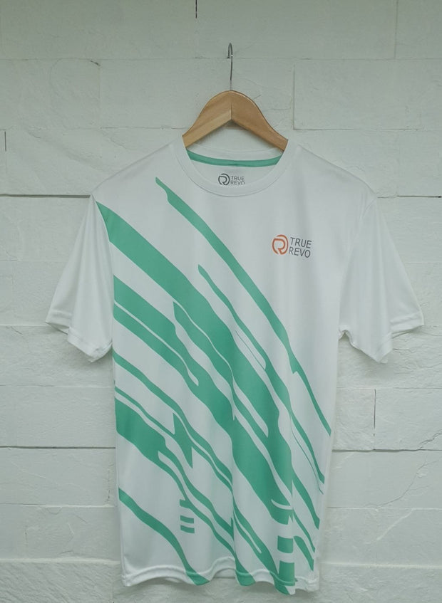 Men's Reflective dryfit tshirt with flow graphics - White & Lime Yellow