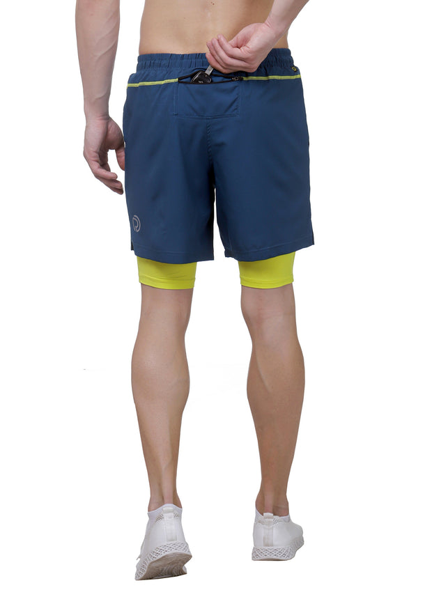 "7"" 2-in-1 Shorts With Phone Pocket - Men's Teal Blue"