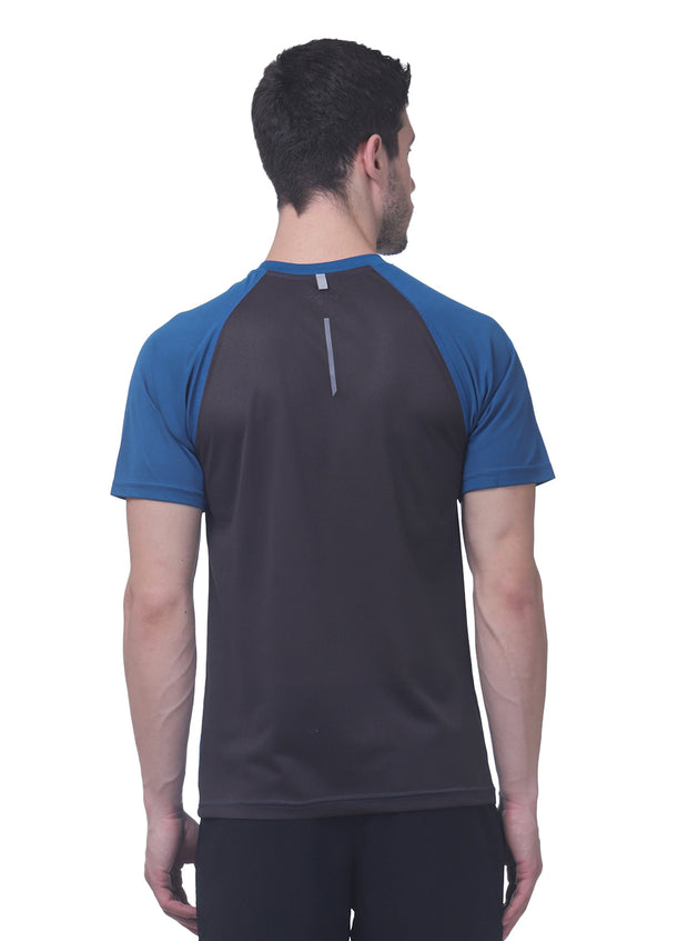 Men's Reflective dryfit tshirt with performaance mesh back - TEAL BLUE