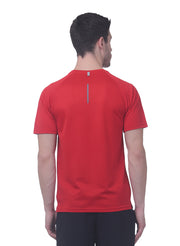 Men's Reflective dryfit tshirt with performaance mesh back - RED