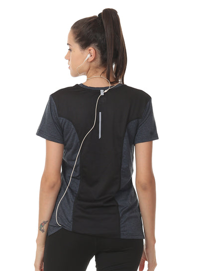 Ultra Breathable Dryfit Sports Tshirt with Mesh Back - Anthra Black
