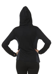 Hooded Full Sleeve Top  with Zipper Pocket for Women's Training & Sports - Black