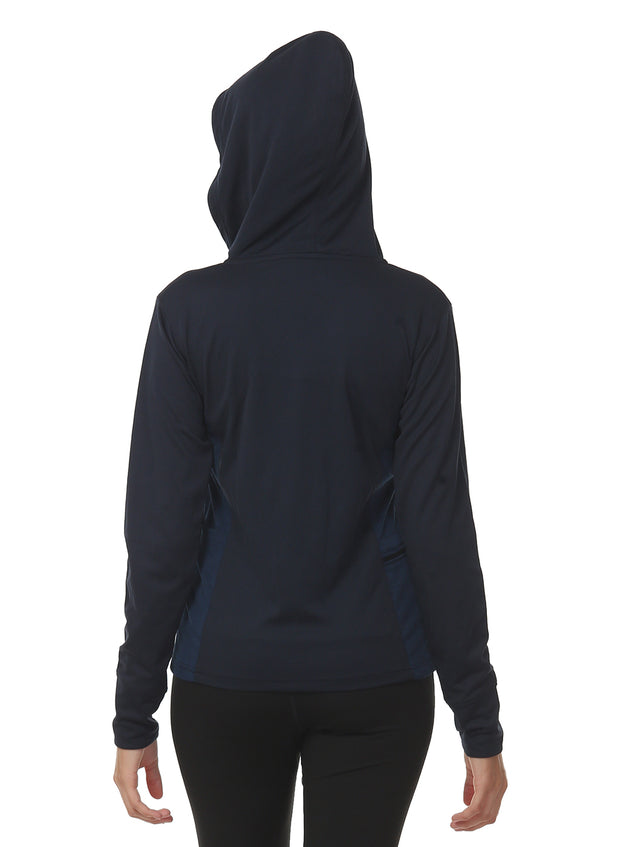 Hooded Full Sleeve Top  with Zipper Pocket for Women's Training & Sports - Navy
