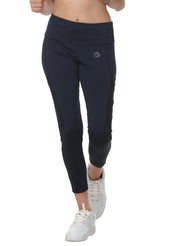 Women's Stretch Mesh 7/8th Legging with Waist Phone Pocket - Navy