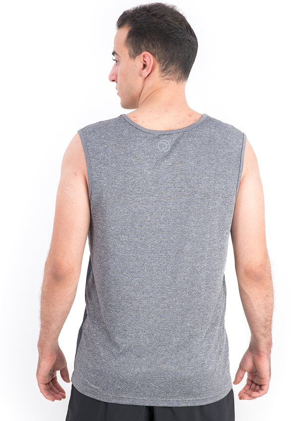 Sports Dry Fit Tank Top Vest for Running & Gym - Navy-Grey