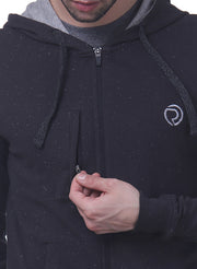 Training & Travel Hoodie Jacket with Zippered Chest Pocket for Men  - Graphite Grey