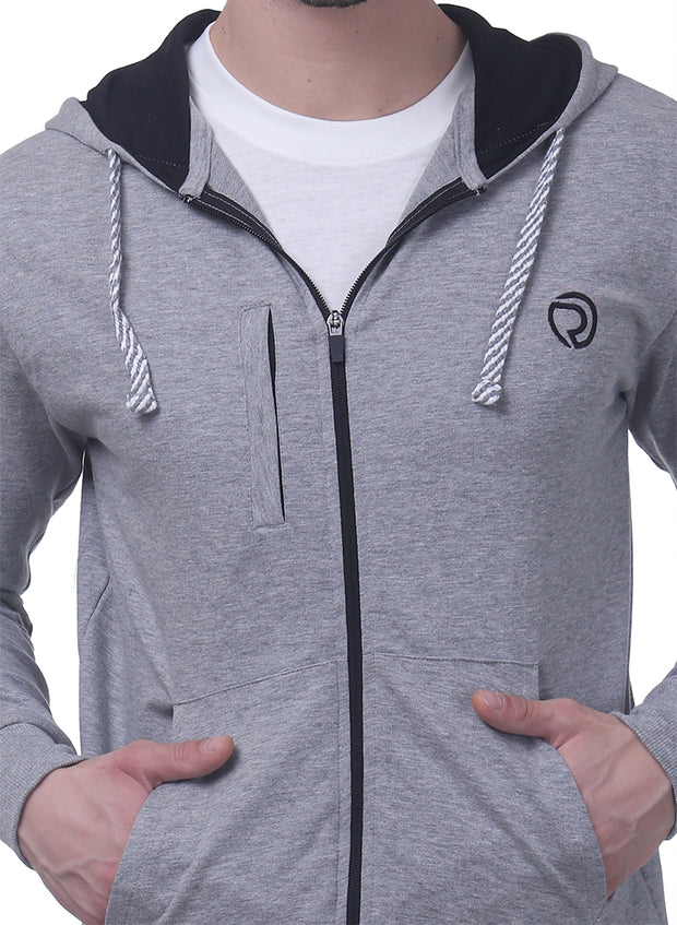 Training & Travel Hoodie Jacket with Zippered Chest Pocket for Men  - Milange Grey