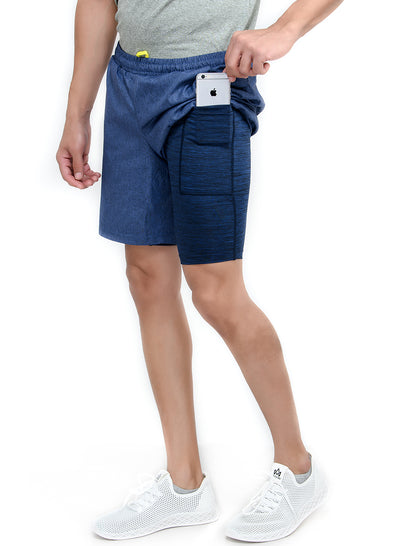 "7"" 2-in-1 Sports Shorts with Phone Pocket - Special 2 layer Anthra Edition - Navy"