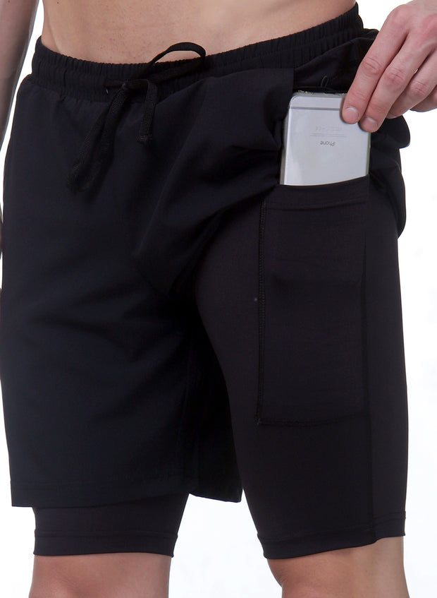 "7"" 2-in-1 Shorts With Phone Pocket - Men's Deep Black"