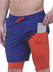 "7"" Sports Shorts With Phone Pocket - The SPS-II Mykonos Blue"