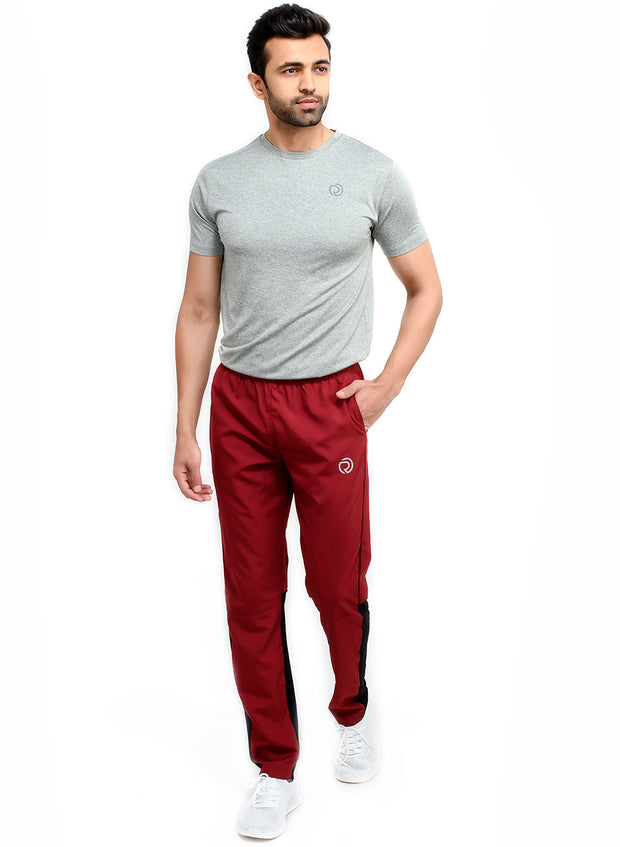 Men's Sports Track Pant with zipper back pocket - MAROON & BLACK