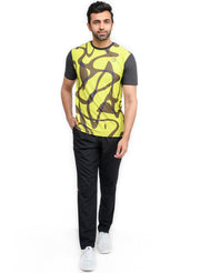 Reflective dryfit tshirt with stylish print  - COAL