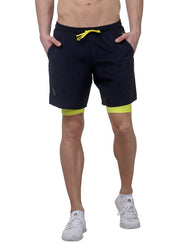 "7"" 2-in-1 Shorts With Phone Pocket - Men's Navy Blue"