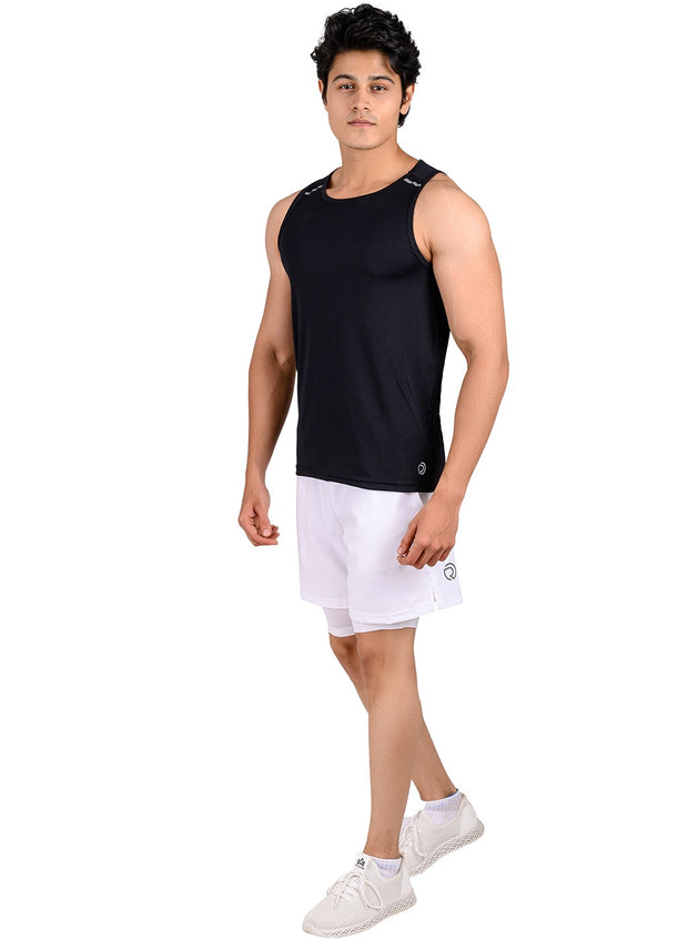 Men's Light Dryfit Tank with Reflective Details - Black