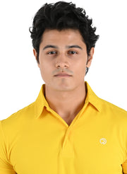 Dryfit Textured Sports & Golf Tshirt for Men - Yellow