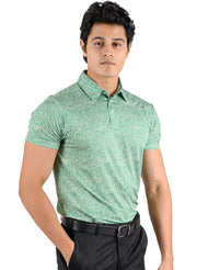 Stretch Dryfit Printed Golf & Sports Tshirt for Men - Forest Green