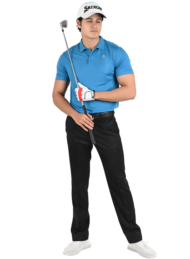 Dryfit Textured Sports & Golf Tshirt for Men - Scuba Blue