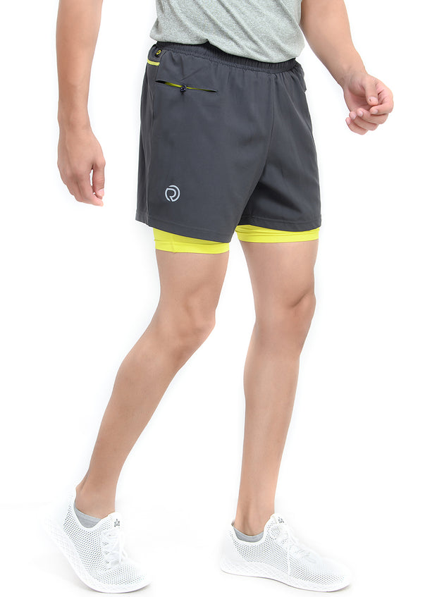 "5"" Running Shorts with water resistant phone pocket - Men's Coal Double Layer"