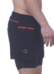 "5"" 2-in-1 Running Shorts with water resistant phone pocket - Men's Black"