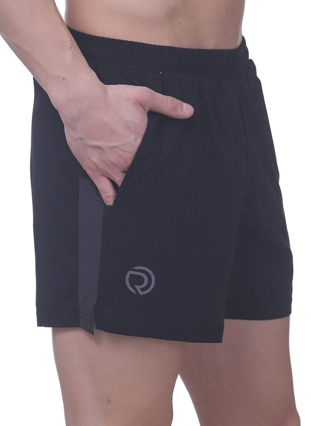 "5"" Sports Shorts with 2 side pockets & zipper back pocket - Black"