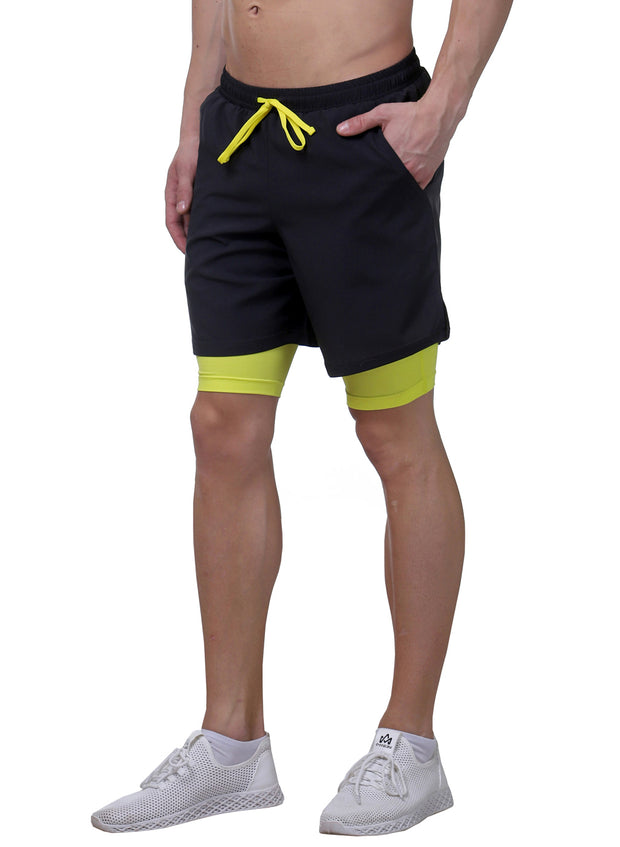 "7"" 2-in-1 Shorts With Phone Pocket - Men's Dark Grey"