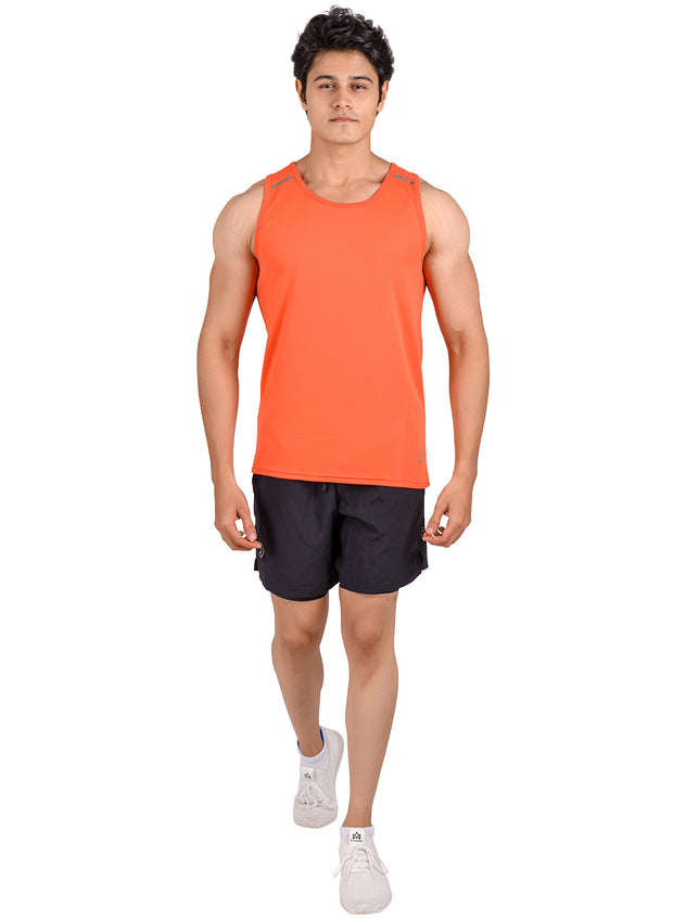 Men's Light Dryfit Tank with Reflective Details - Red Orange