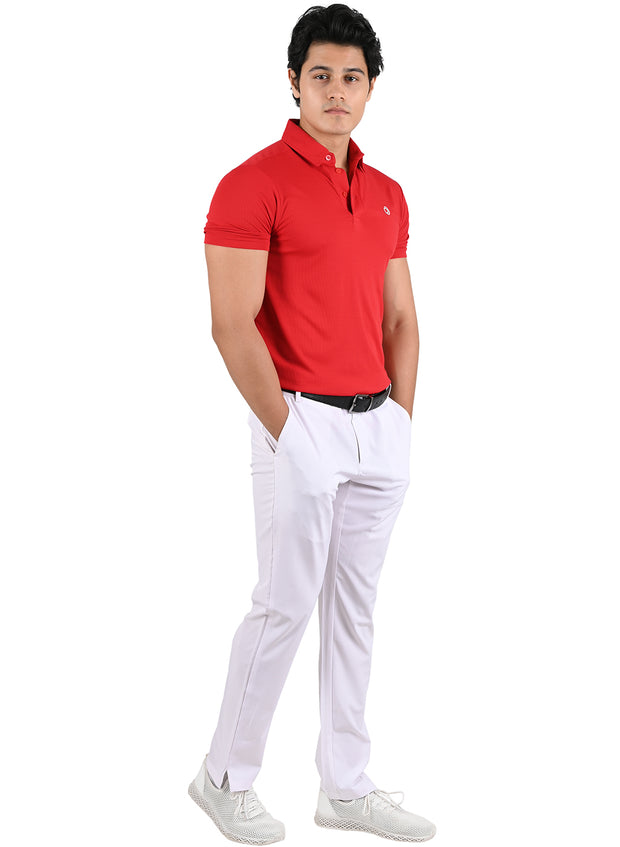 Dryfit Textured Sports & Golf Tshirt for Men - Red